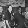 Anna Tibaijuka, Executive Director, UNHABITAT, third from left, poses with Caroline Pezullo, far left, and other Habitat Scroll of Honor recipients, October 2000